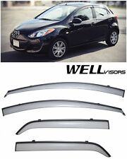 For 11-15 Mazda 2 Hatchback WellVisors Side Window Visors W/ Black Trim