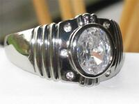 MENS signet SOLITARE STUDDED PINKY  SIMULATED DIAMOND PLATINUM BONDED RING M110