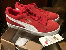 Puma Shoes Clyde Script Classic Suede Red/White Sneakers Size 8 351907 12