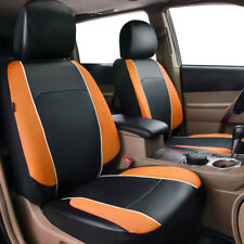 Universal Orange 2 Front Car Seat Cover Leather&Mesh Airbag Breathable for Truck