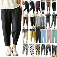 Women Cotton Linen Harem Long Pants Elastic Waist Pockets Wide Leg Loose Trouser