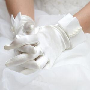 White Satin Gloves With Bow Pretty Communion Gloves Bride Wedding Dress Girl #JP