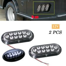 """2PCS Surface Mount Oval White 6"""" 12V 10LED Truck Trailer Backup Reverse Light"""
