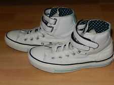 CONVERSE ALL STAR HIGH TOP WHITE & MINT VELCRO SIZE 4 TRAINERS