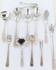 .EXQUISITE / DECORATIVE LOT OF ASSORTED STIEFF STERLING SILVER CUTLERY.