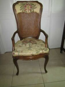 Vintage French Provincial Style Captain Arm Chair Cane Back Upholstered Seat