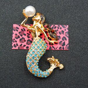 Fashion Betsey Johnson Blue Crystal Enamel Ocean Pearl Mermaid Charm Brooch Pin