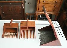 Set of 3 Antique Wooden Cranberry Scoop Rake Wall Display Organizer