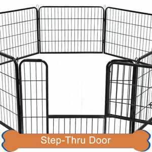 """New Dog Playpen Crate 16 Panel Fence Pet Play Pen Exercise Puppy Kennel Cage 24"""""""