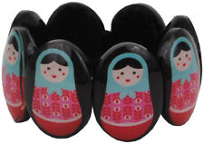 NEW Resin Babushka Matryoshka Russian Dolls Black Bracelet