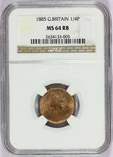 1885 Great Britain Farthing 1/4 Penny Bronze Coin - NGC MS 64 RB - KM# 753