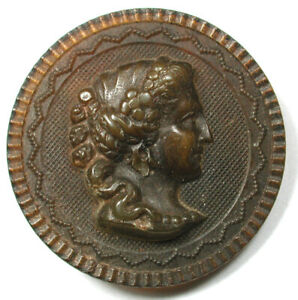"""Antique Horn Button Lovely Woman's Head 1 & 3/16""""  Nice!  1890s"""