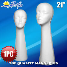 "HALLOWEEN 1PC 21"" STYROFOAM FOAM MANNEQUIN MANIKIN head display wig hat glasses"