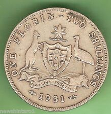 1931  AUSTRALIAN STERLING SILVER FLORIN TWO SHILLING COIN
