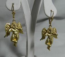 NEW 14K Yellow Gold YG  Cherub / Angel Earrings Leverback  9.5 gms