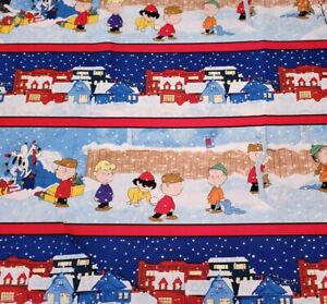 """19"""" Christmas Time Peanuts Quilting Treasures Charlie Brown Snoopy Scenic Stripe"""