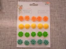 Resin Flower Embellishments 20 pcs Freshly Cut Flowers Papermania