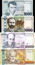 ARMENIA 1000, 5000, 10000, 20000 DRAM BANKNOTES SET 2011-2015 UNC RARE
