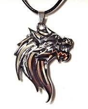 STYLIZED DIRE WOLF HEAD PENDANT gunmetal black silver necklace cord Stark 1D