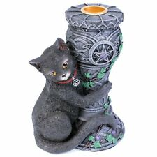 Midnight Candlestick 14cm High Black Cat Gothic Candle Holder Nemesis Now