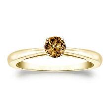 Diamantring 0,25 Karat Champagner Solitär Diamant Ring 585 14K Gelbgold Ring