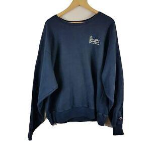 Champion Mens Sweatshirt XL Reverse Weave Lowry Construction Vtg Vintage Blue