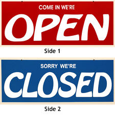 TWO SIGNS!! - Double Sided Open-Closed Sign & Business Hour Window Cling On Sign