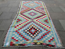Old Traditional Hand Made Persian Oriental Kilim Wool Cotton Blue 320x170m
