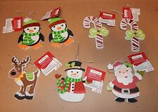 "Christmas Craft Foam Ornaments Creatology 4 1/2"" 7 Each Santa Snowman Candy 93K"