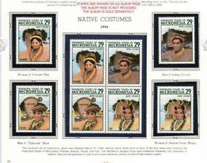 MICRONESIA 1994 NATIVE COSTUMES MNH MASKS, MONEY, BOAT