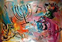 JEWISH  ART CANVAS IMPRESSIONIST IMPASTO ARTIST  Original Oil Painting  67UJ