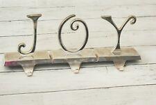 Pottery Barn Initials J-O-Y JOY Silverplate Stocking Holder Hangers Mantel Heavy