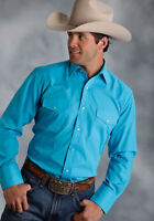 Roper Mens Blue Cotton Blend Broadcloth L/S Turquoise Western Shirt