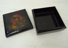 Vintage Russian Black Lacquer Trinket Jewelry Box Hand Painted Fish