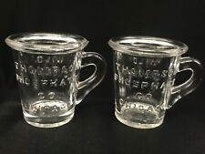 2 Antique Thompson Phosphate Co Chicago Wild Cherry Dose Shot Glass Advertising