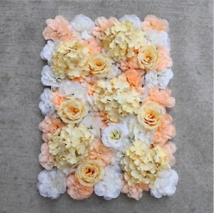 6pcs Peach/Champagne Wedding Flower Wall Backdrop Panels for Sale 60cmx40cm