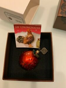 JAY STRONGWATER PETITE APPLE CHRISTMAS ORNAMENT