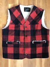 Vtg 80s Jcpenney Buffalo Red + Black Plaid Wool Lined Vest Men's Size Large