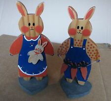 Carol Wright Gifts Wooden Bunny Rabbits with Carrots