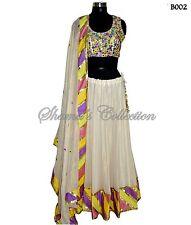 Bollywood Designer Indian Pakistani-Shimmer off-white and multicolor lehenga set