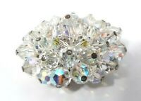 Vintage Brooch Pin Domed Aurora Borealis Faceted Glass Crystal 37 Beaded