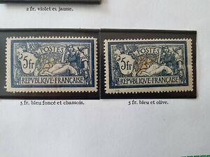 France lot 2 Timbres 5 francs merson Neufs * N° 123* et 123a* 1900