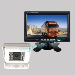 """12V-24V Blanc Caméra de recul IR LED Arrière vision nocturne+ 7"""" Ecran LCD 10m"""