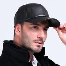 Real Leather Solid Adjustable Baseball Cap Winter Sport Hats For Men&Women