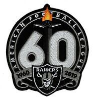 🔥OAKLAND RAIDERS 1960-2019 60th Anniversary Iron-on NFL Football Jersey PATCH🔥