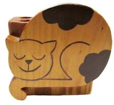 Cat Pen Pencil Wood Holder Desk 10 x 10 cm