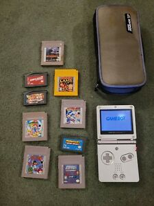 Nintendo Game Boy Advance SP Silver/Platinum + Case & Games