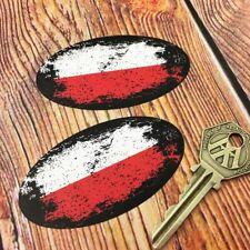 POLISH Flag Fade to Black Oval Car Motorcycle Stickers 75mm Poland Helmet Bike