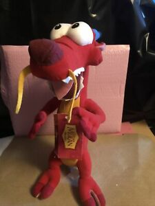 "Disney Store Mulan Mushu Plush Stuffed Animal 15""- 16"" Red Dragon Authentic NWT"