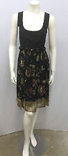 ETRO DRESS FLORAL BLACK WITH BRONZE OLIVE RED SILK AND COTTON SIZE 44 SMALL